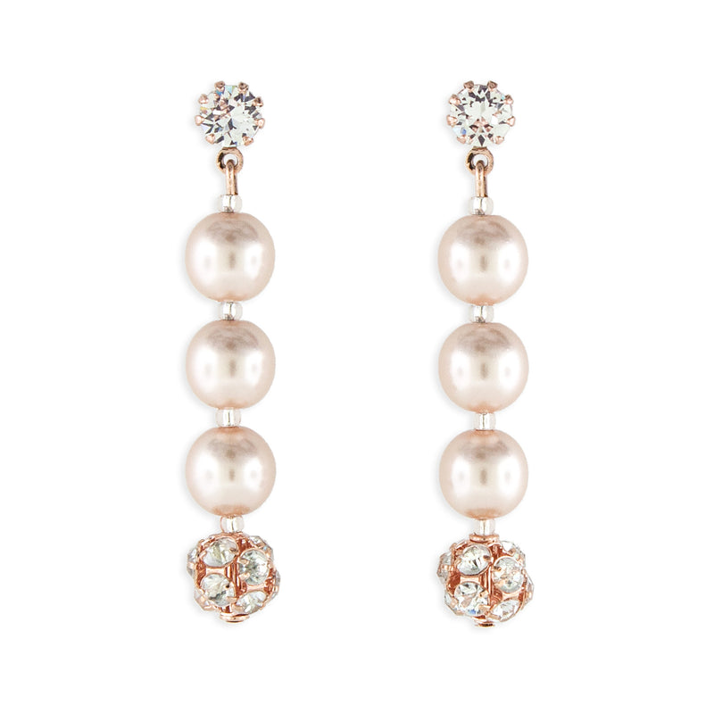 Rose Gold Pearl Earrings - 1.75""