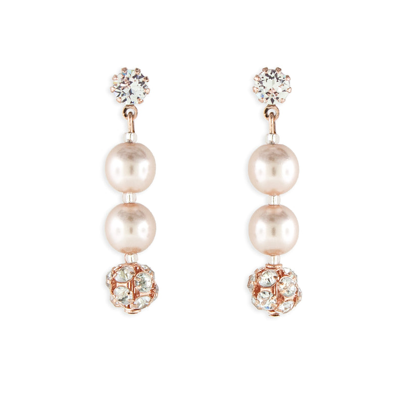 Rose Gold Pearl Earrings - 1.5""