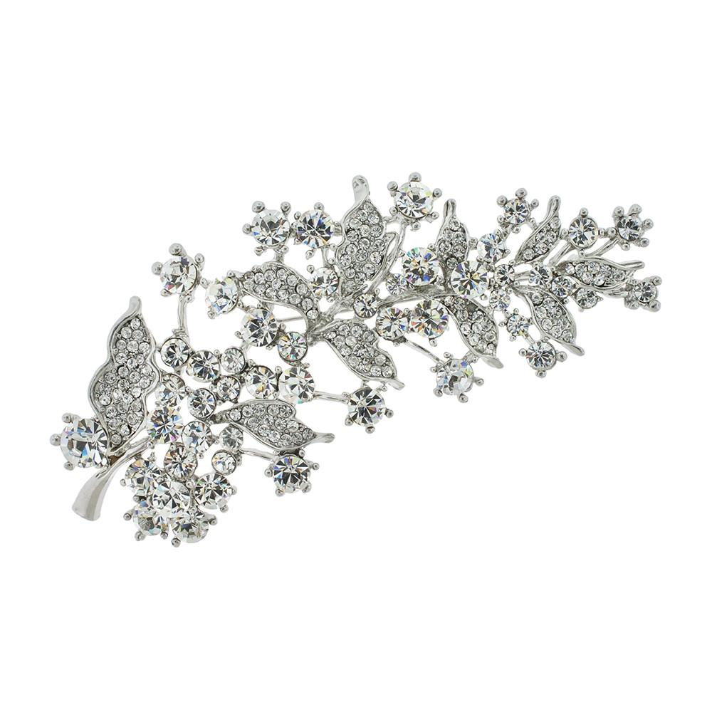 Large Crystal Brooch with Floral Details