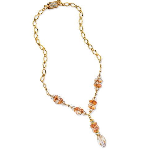 Gold Chain Necklace with Crystal Drop