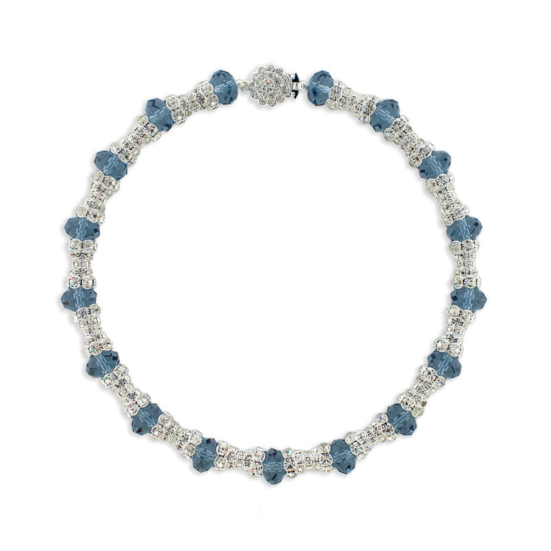 Crystal Embellished Statement Necklace - blue