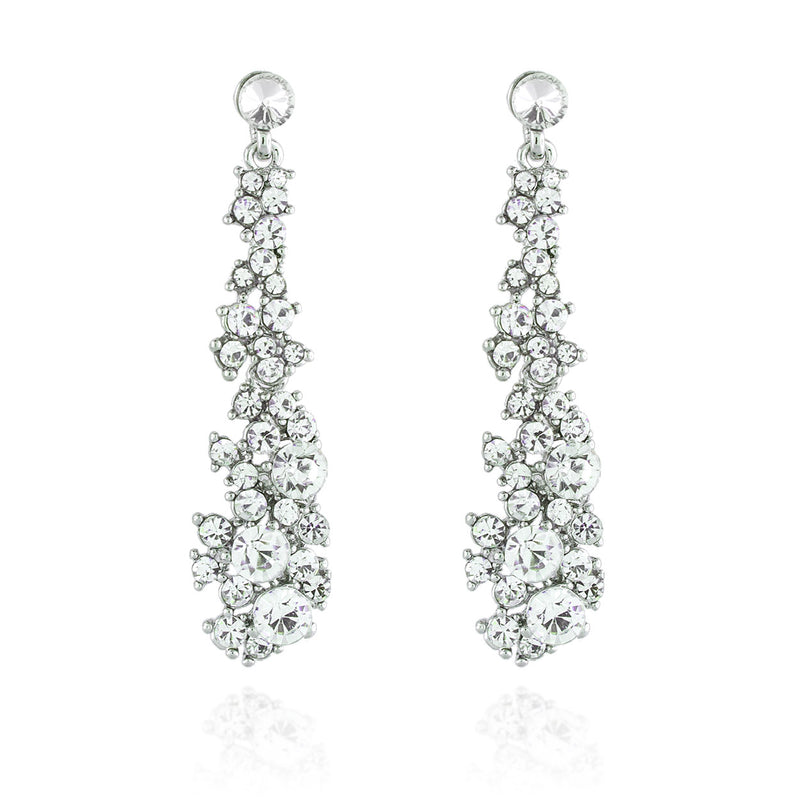 Abstract Rhinestone Statement Earrings - silver