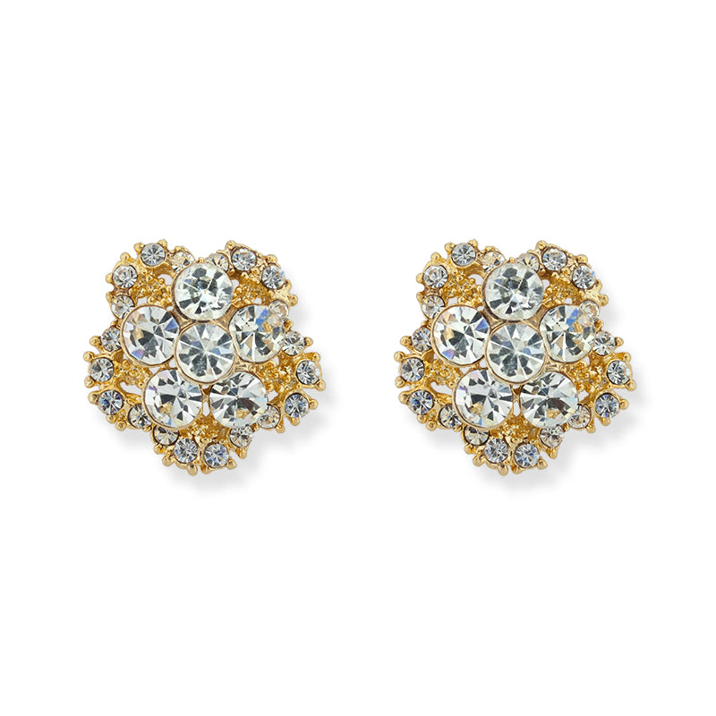 Five Petal Crystal Cluster Earrings, Gold