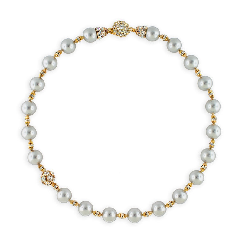 Grey Pearl Necklace with Gold Accents