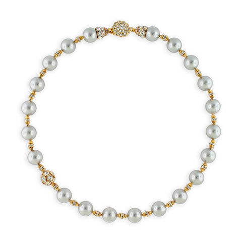 Pearl Necklace with Rhinestone Accents