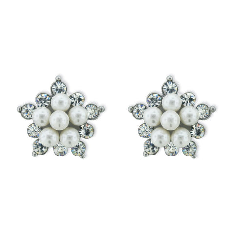 Pearl & Crystal Star-Shaped Earrings
