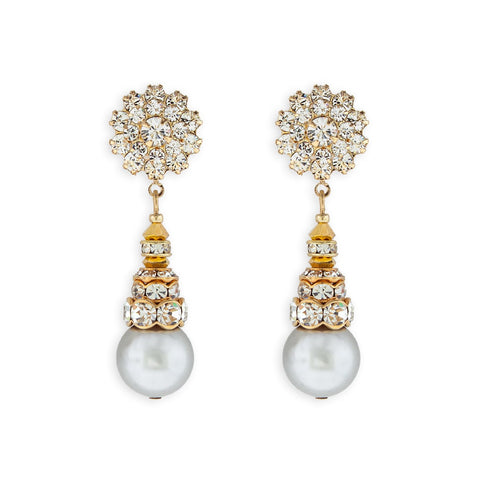 Pearl Drop Earrings with Crystal Embellishments