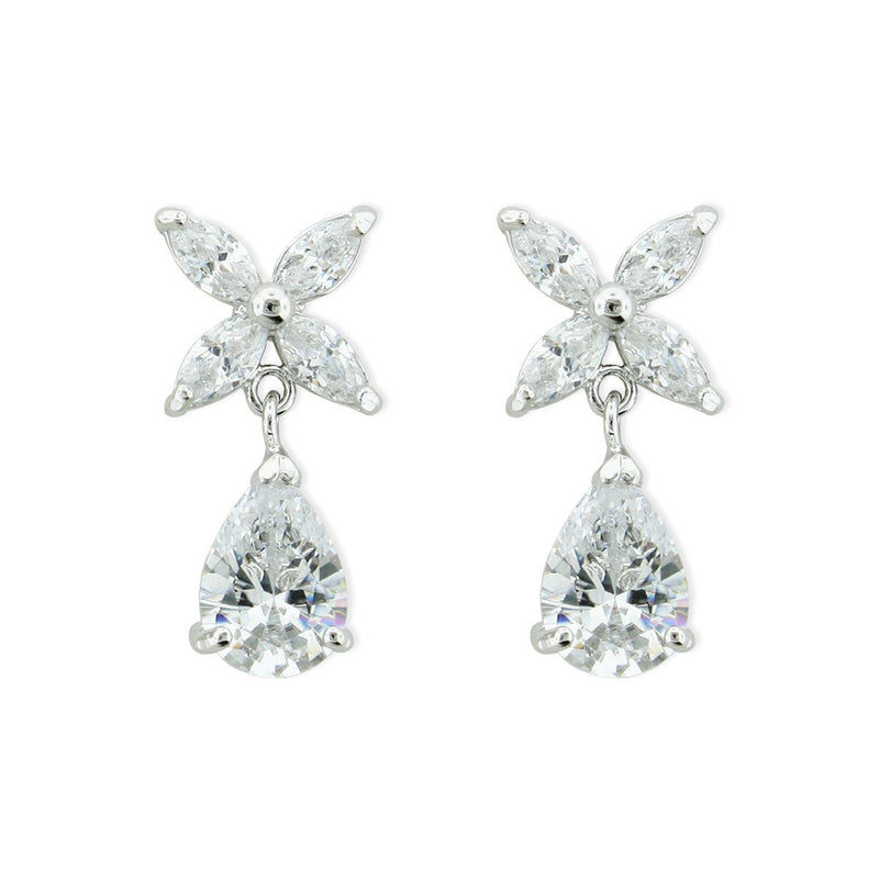 Marquise CZ Earrings with Pear Drop