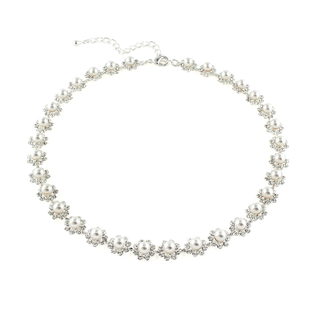Pearl & Rhinestone Bridal Necklace