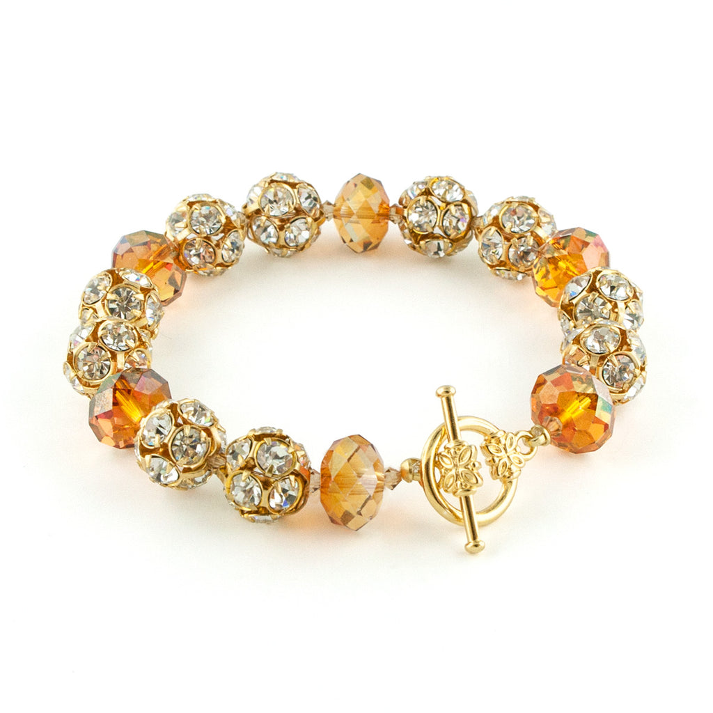 Orange Crystal & Rhinestone Bead Bracelet