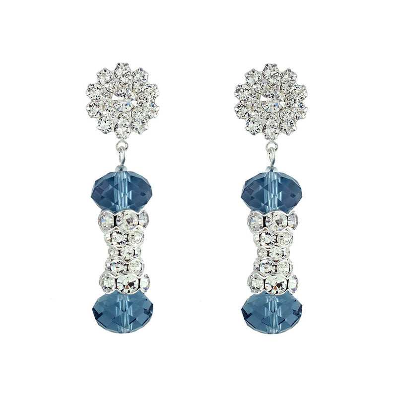 Crystal Embellished Statement Earrings - Blue