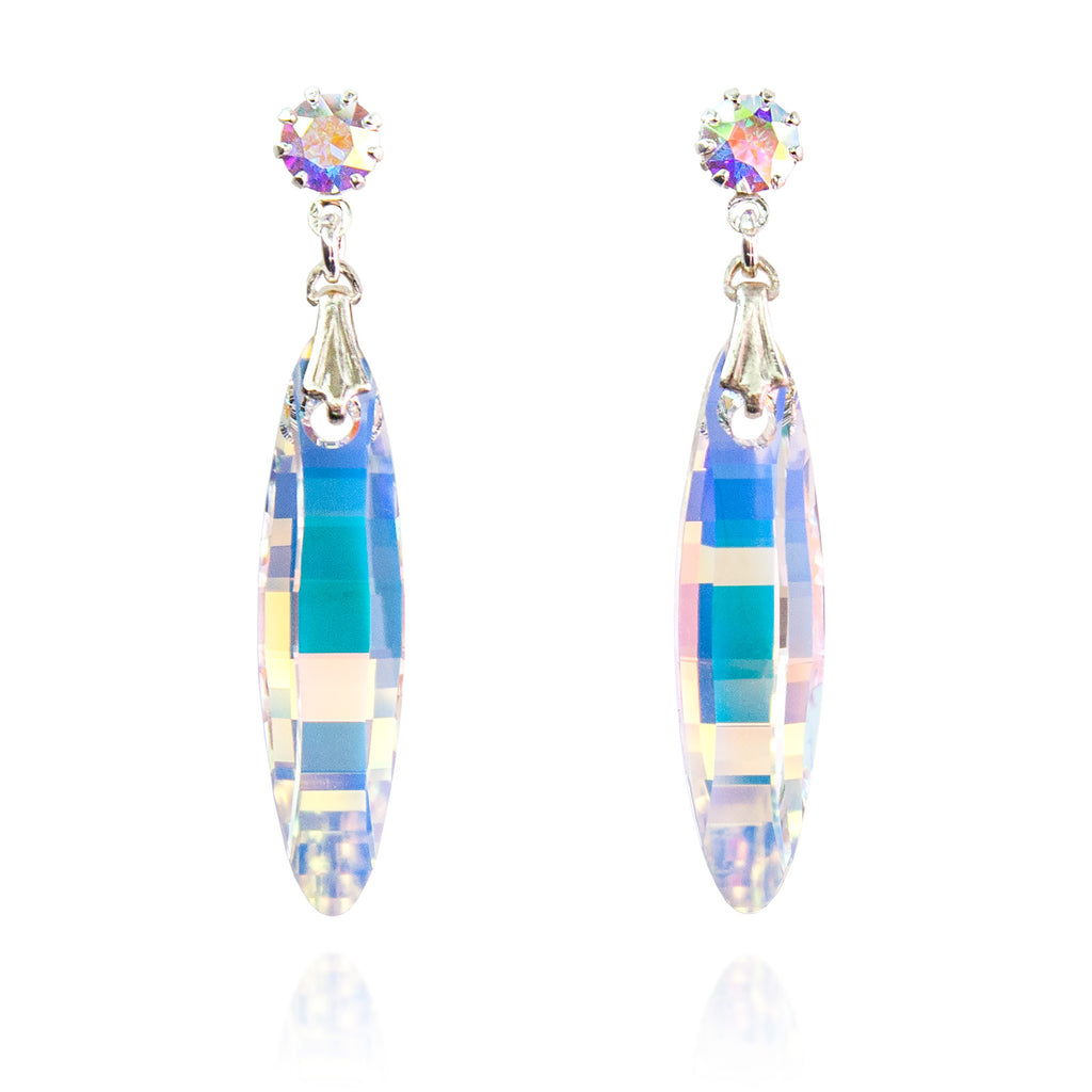 Contoured Crystal Drop Earrings - Iridescent