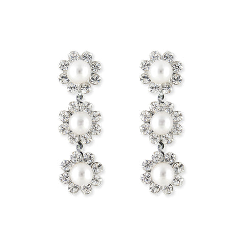 Pearl & Rhinestone Bridal Earrings