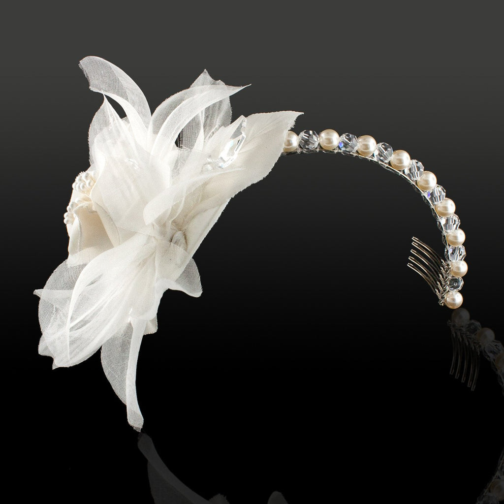 Pearl & Crystal Headband with Flower