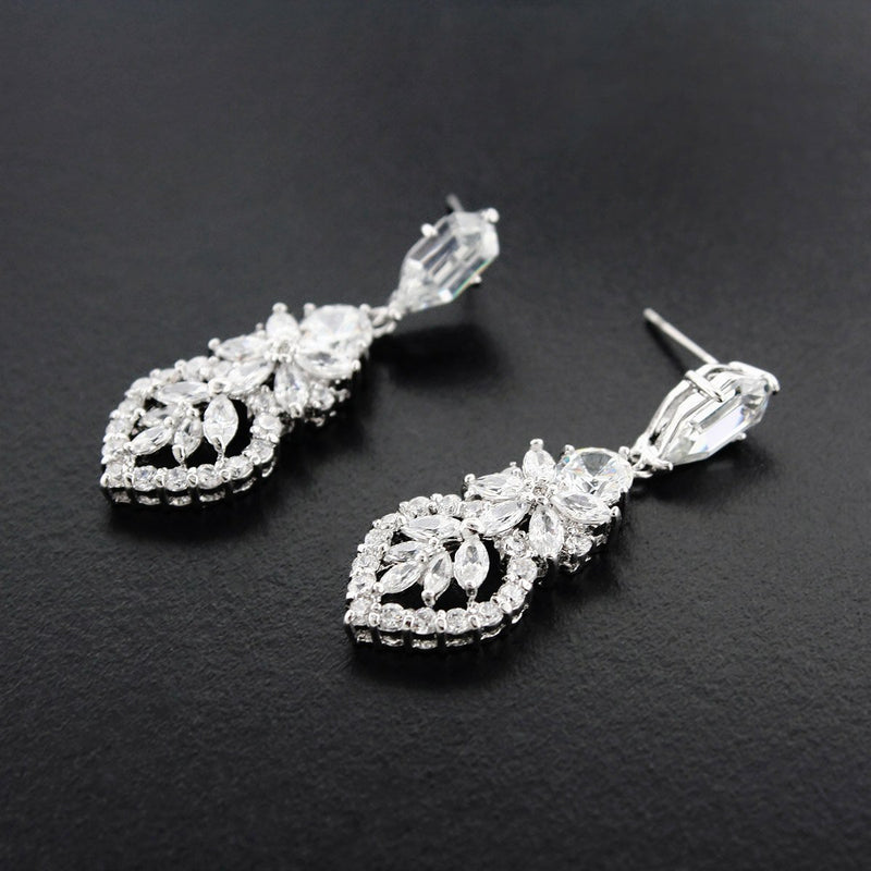 Detailed CZ Earrings - silver