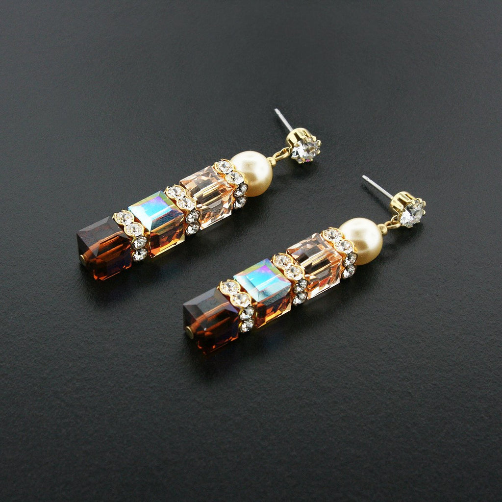 Brown & Champagne Crystal Drop Earrings