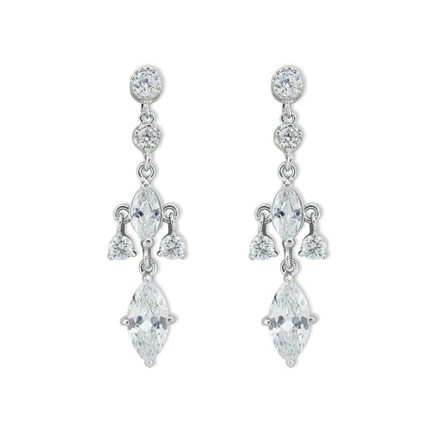 Elegant Drop Earrings with Marquise Stones