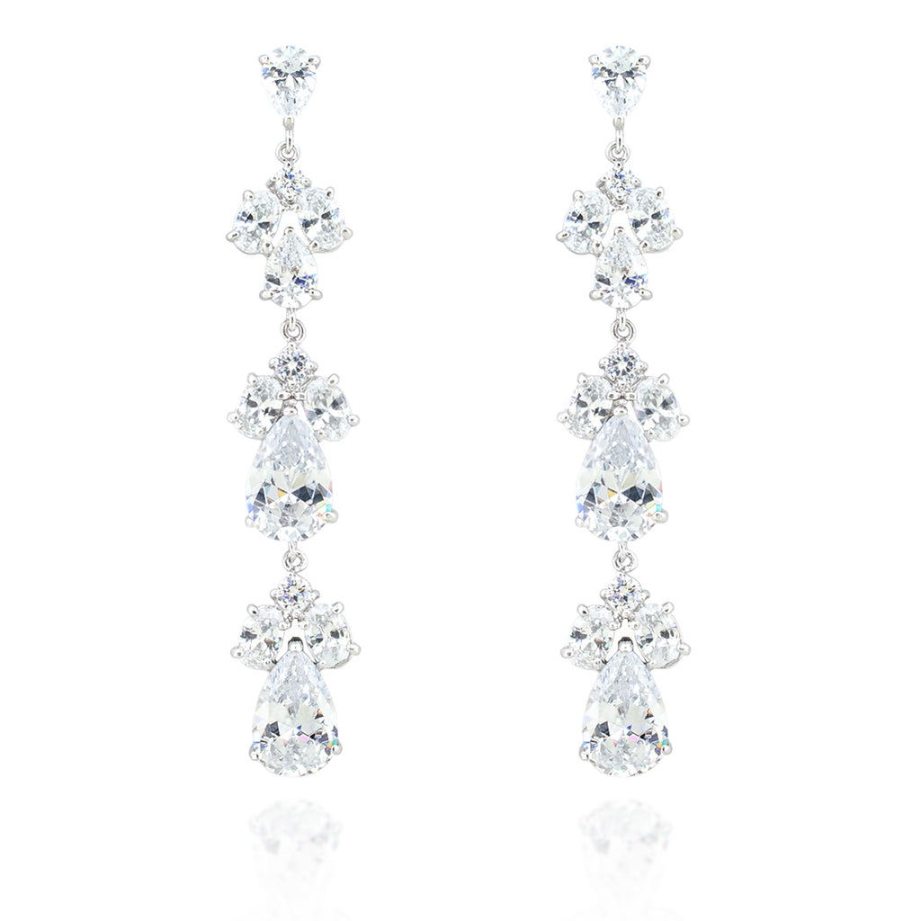3 tier cubic zirconia earrings