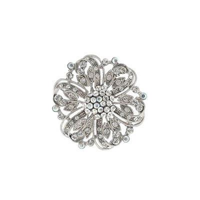 Round Floral Pin with Crystal
