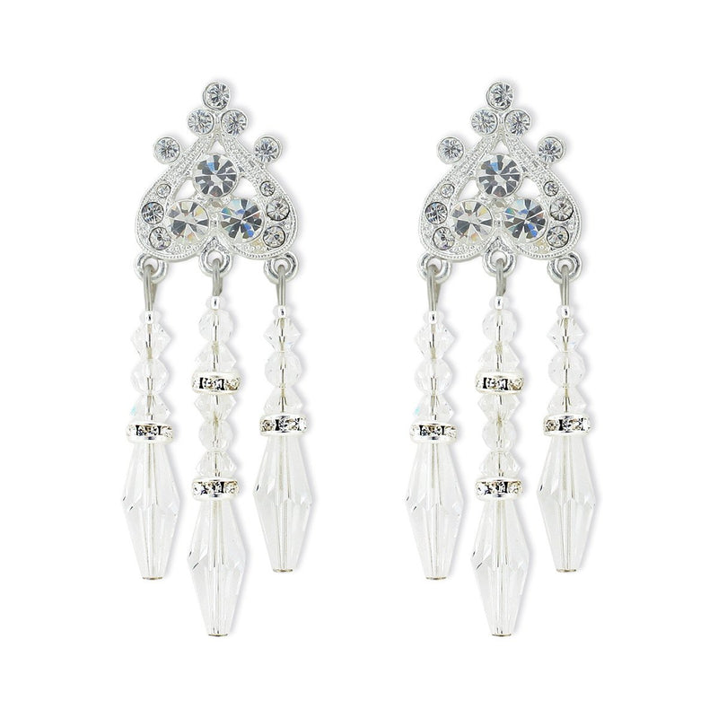 Beaded Crystal Chandelier Earrings - silver
