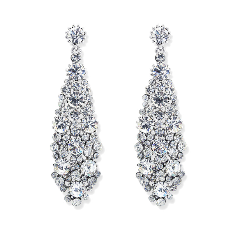 Multi-Stone Crystal Statement Earrings, Rhodium plate