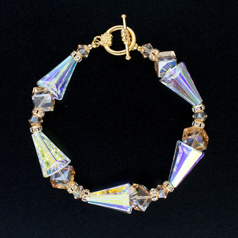 Geometric Crystal Bracelet in Champagne & AB with toggle clasp