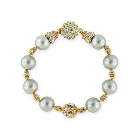 Grey Pearl Bracelet with Gold Accents