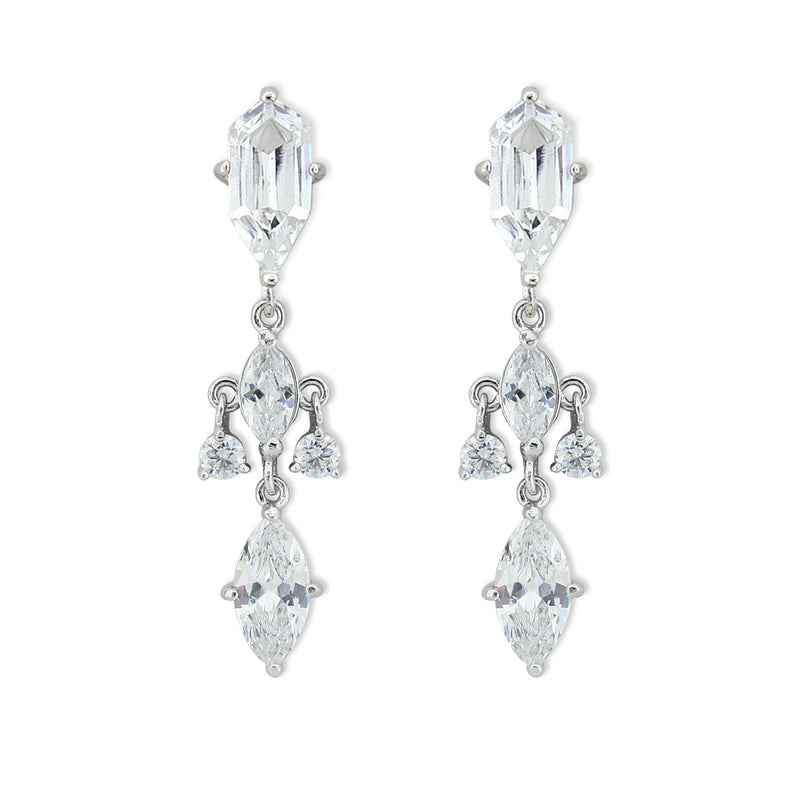 cz earrings with pointed top