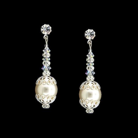 Bridal Earrings with Pearl, Crystal & Filigree