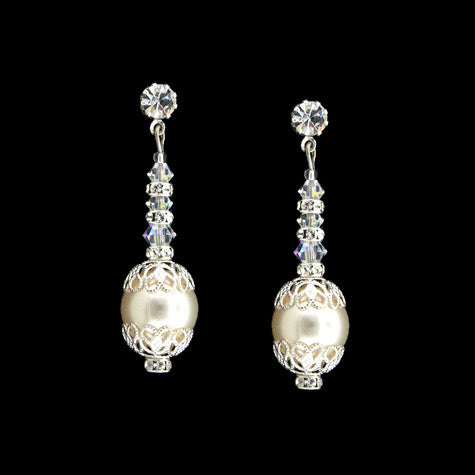 earrings with cream swarovski pearls - HOL566E
