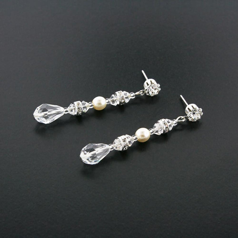 Straight Drop with Crystal Teardrop & Pearl