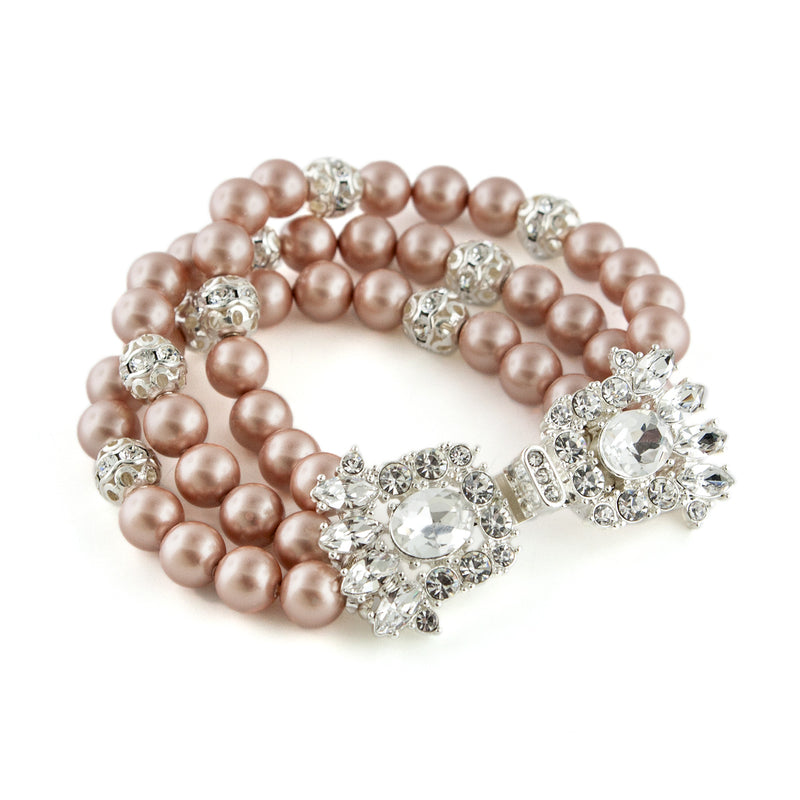 3-Row Pearl Bracelet with Fancy Clasp - taupe