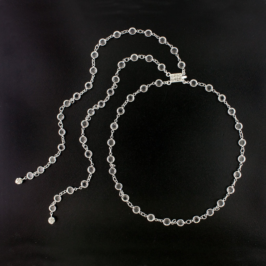Channel Chain Necklace with Back Drops - rhodium plate