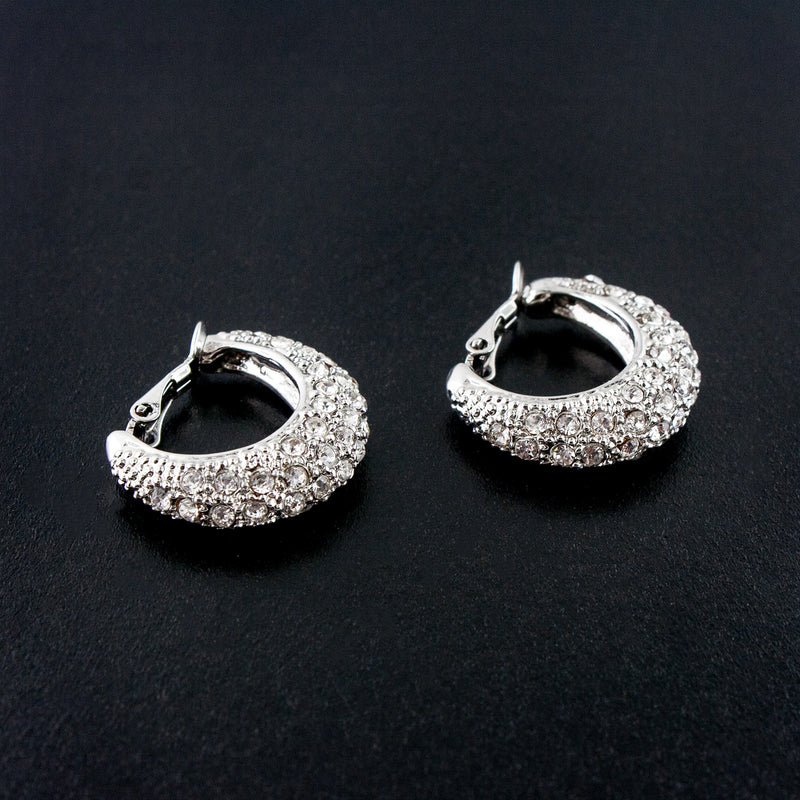 Silver Clip-On Pave Crystal Hoops - VAE16521