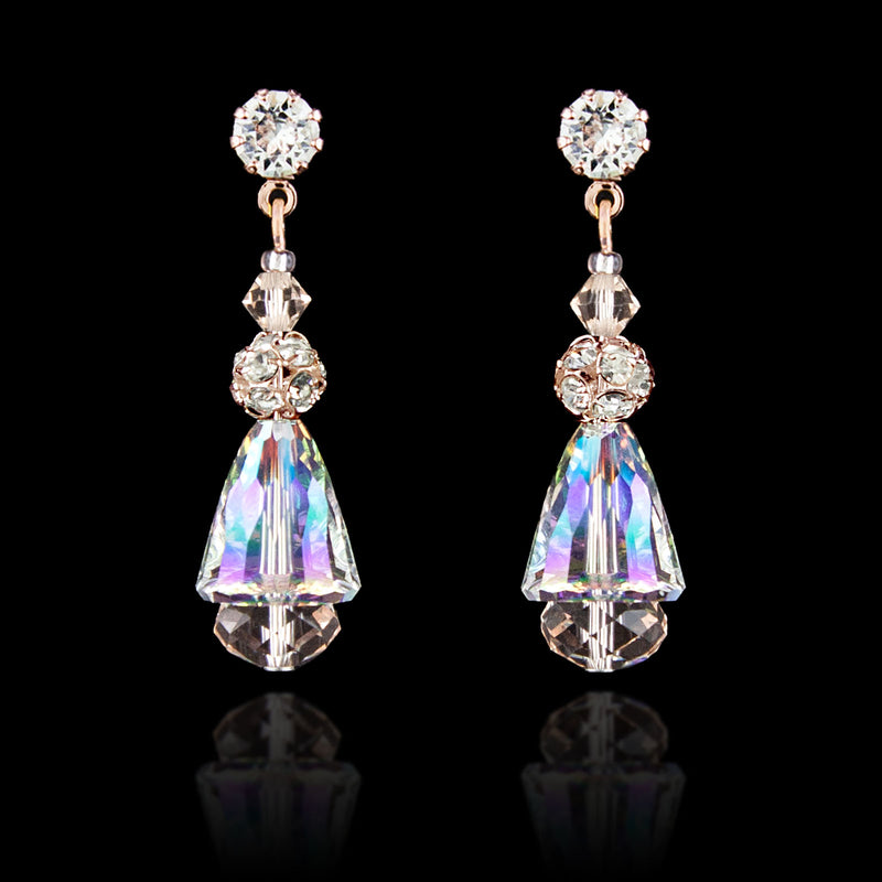 Iridescent Crystal Drop Earrings - rose gold
