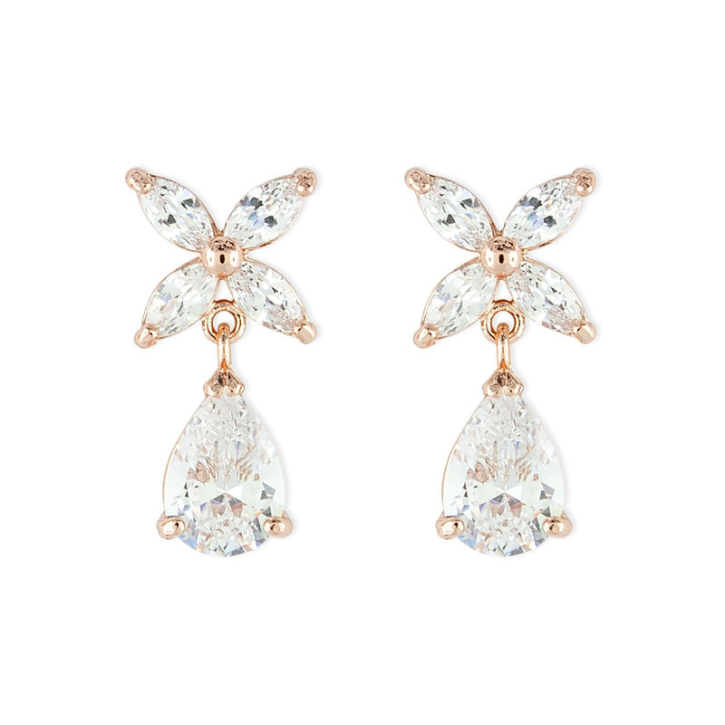 Rose Gold Marquise CZ Earrings with Pear Drop