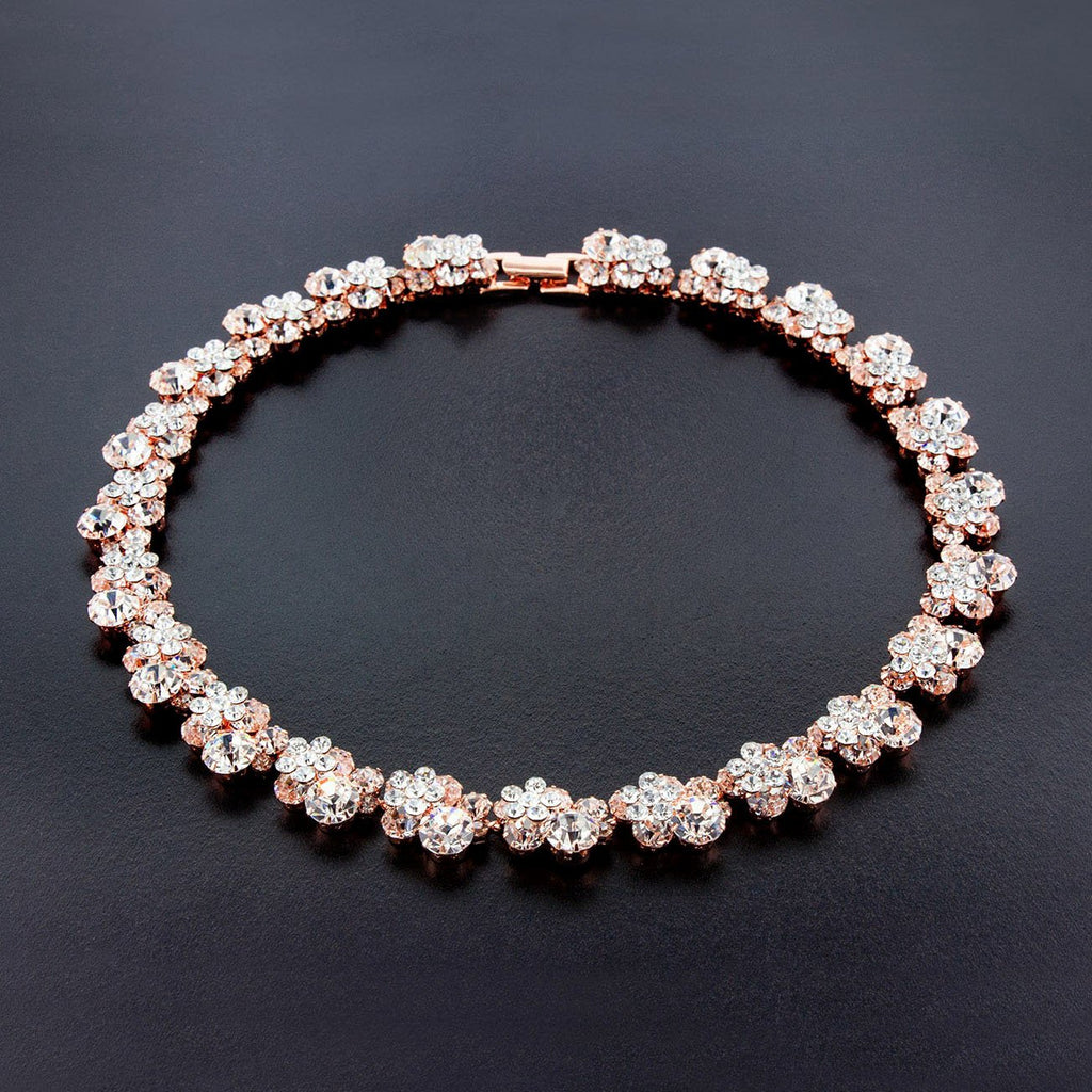 Rose Gold Crystal Cluster Necklace