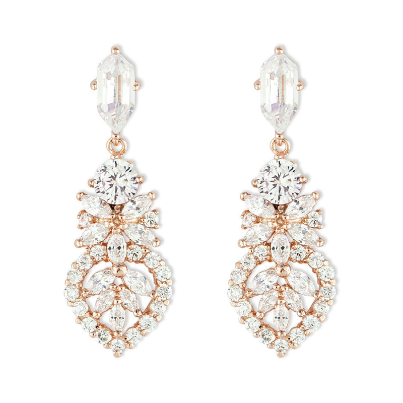 Detailed CZ Earrings - rose gold