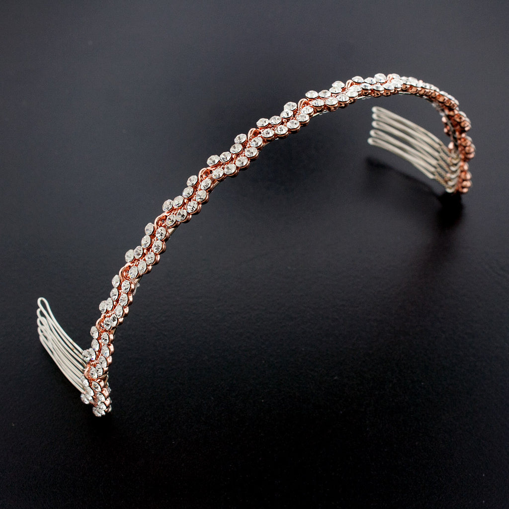 Scalloped rhinestone headband, rose gold