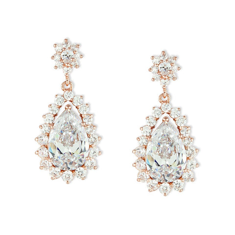 Pear Shape CZ Drops with Multi-Stone Edge