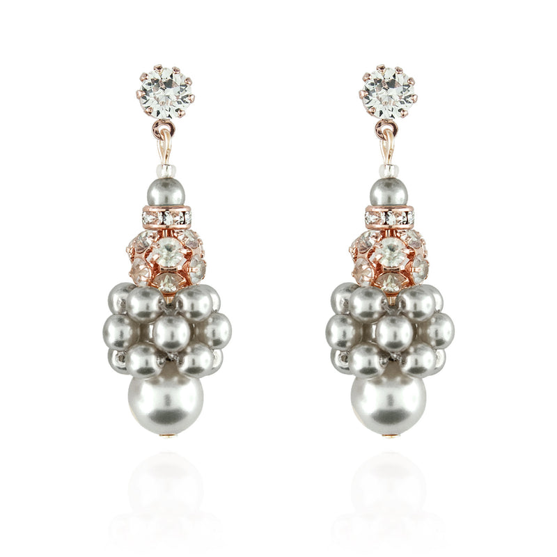 Pearl Cluster Earrings with Rhinestone Beads - light grey, rose gold