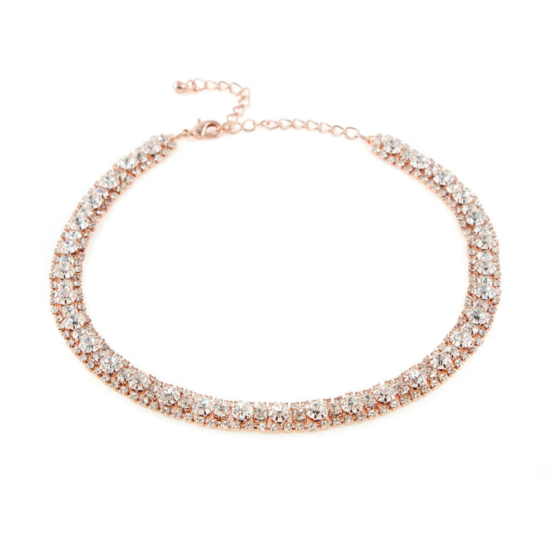 Rose Gold Rhinestone Choker Necklace