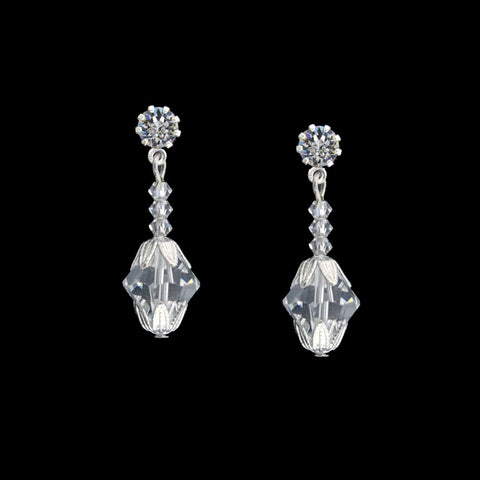 Crystal Bead Earrings with Silver Caps