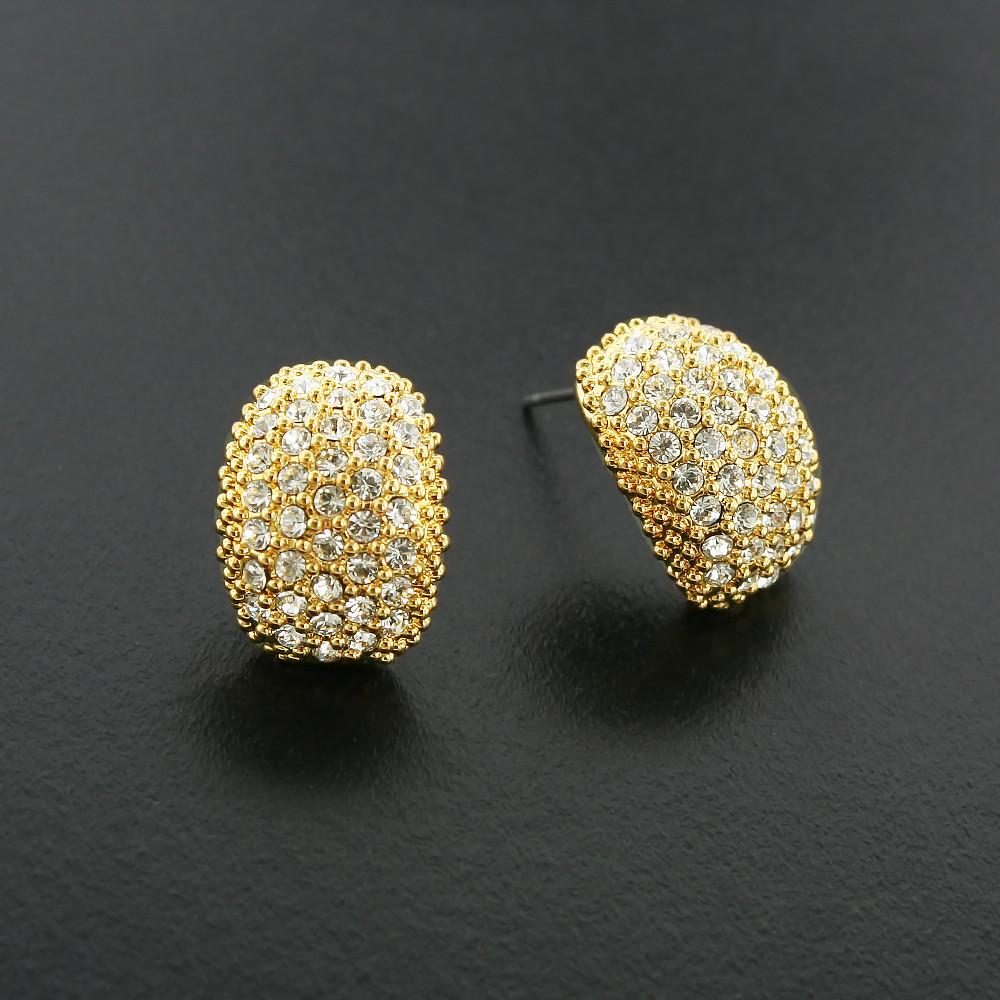 Curved Pave Crystal Earrings