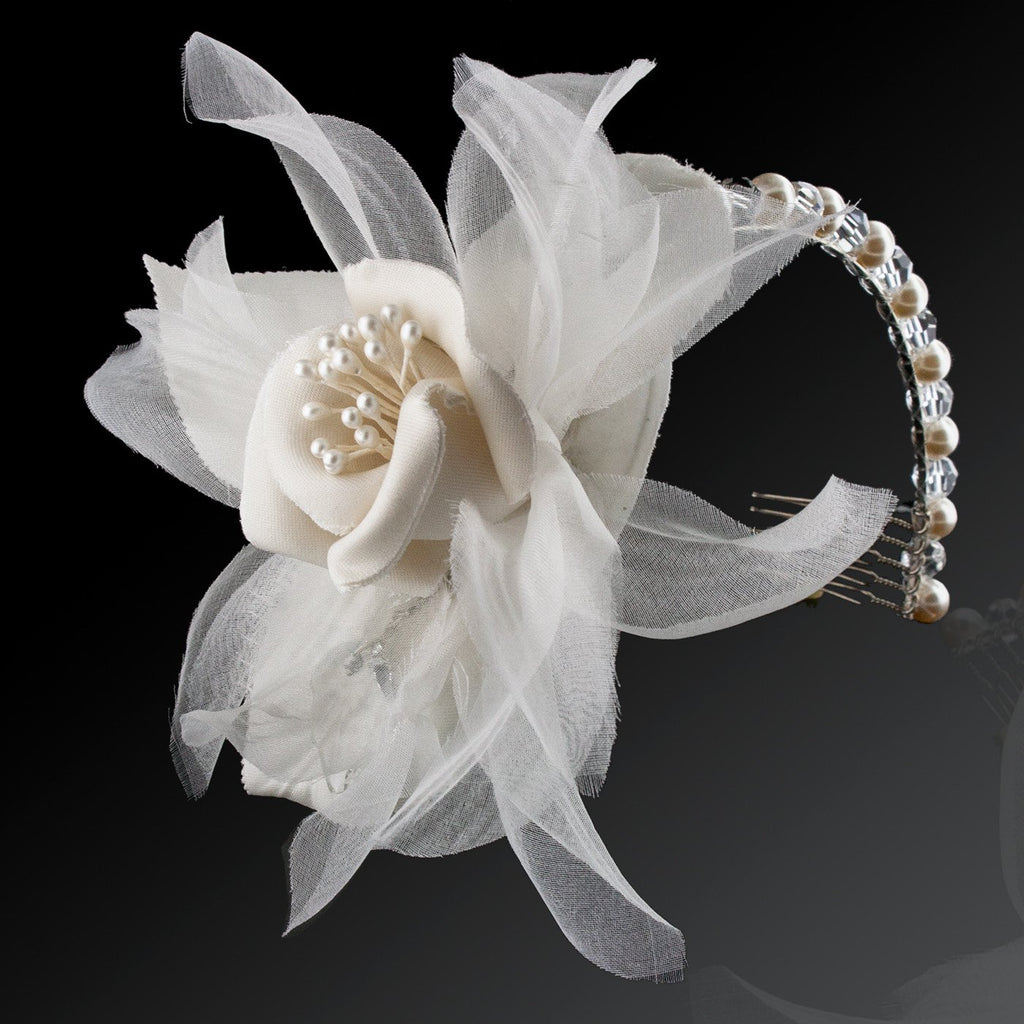 Pearl & Crystal Headband with Silk Flower - side view