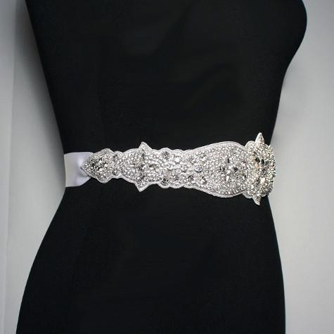 Crystal Bridal Sash on Satin Ribbon - side view