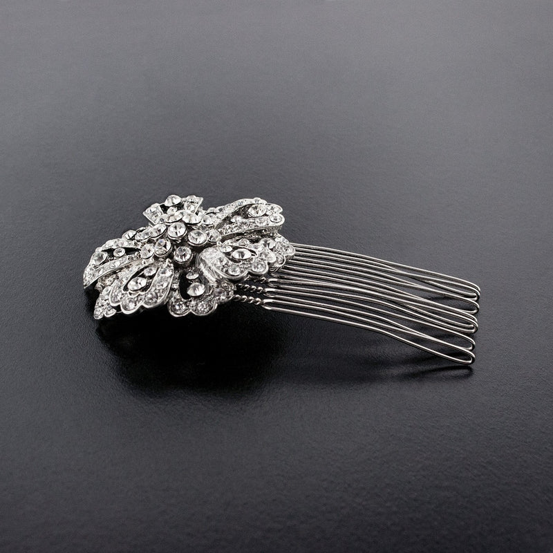 Round crystal haircomb - side view