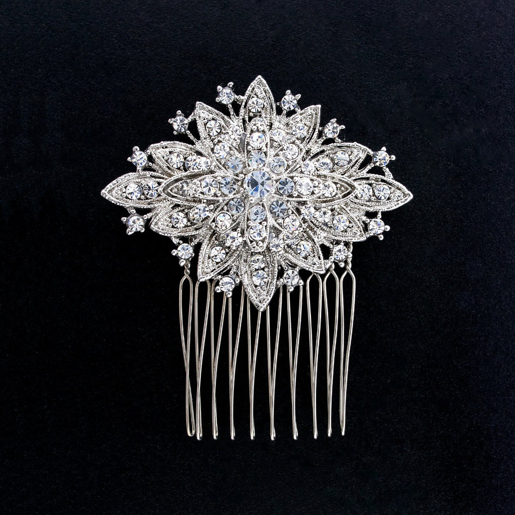 Geometric Vintage Haircomb - silver