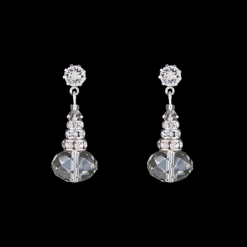 Oval Crystal Drop Earrings with Rondelles