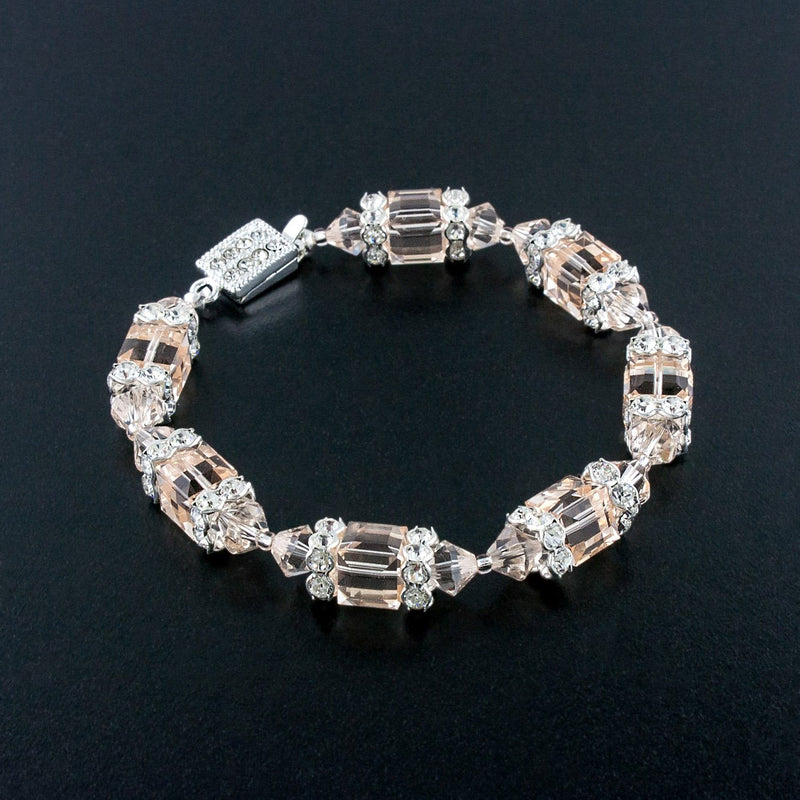Geometric Beaded Crystal Bracelet - champagne